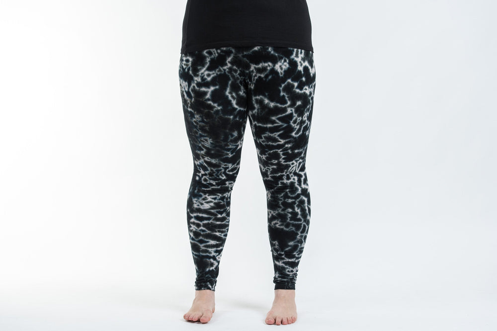 Plus Size Black Marble Tie Dye Rayon Yoga Pants Leggings