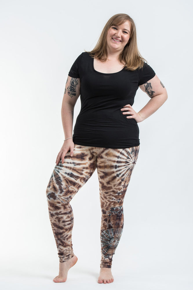 Plus Size Swirls Brown Tie Dye Rayon Yoga Pants Leggings