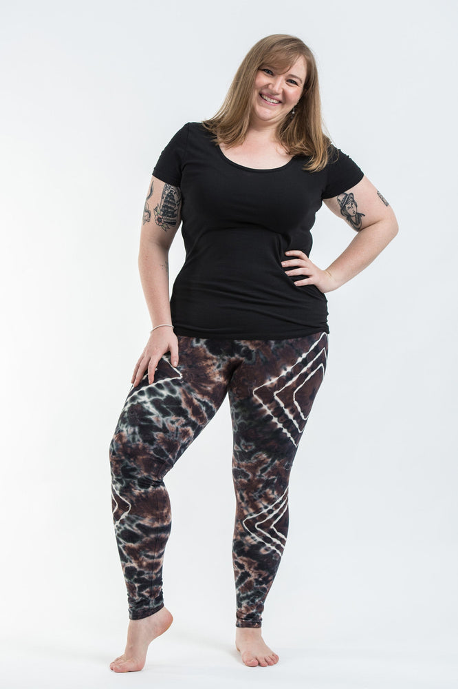 Plus Size Brown Diamond Tie Dye Rayon Yoga Pants Leggings