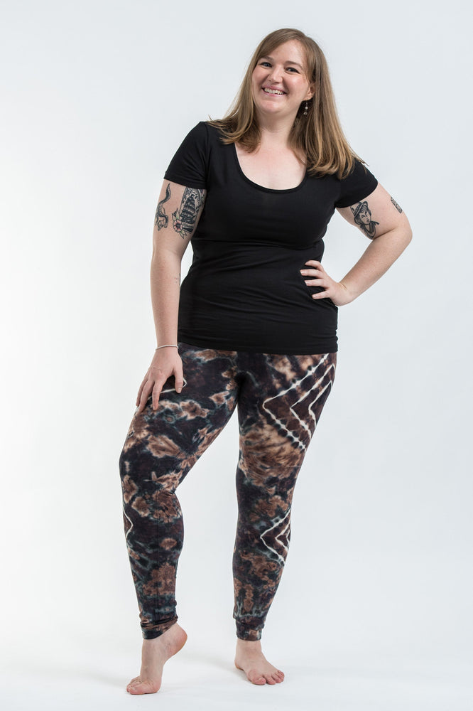 Plus Size Tan Diamond Tie Dye Rayon Yoga Pants Leggings