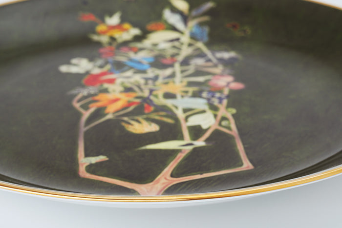 "Potted Plant II 12"" Bone China Gold Transfer Round Plate"