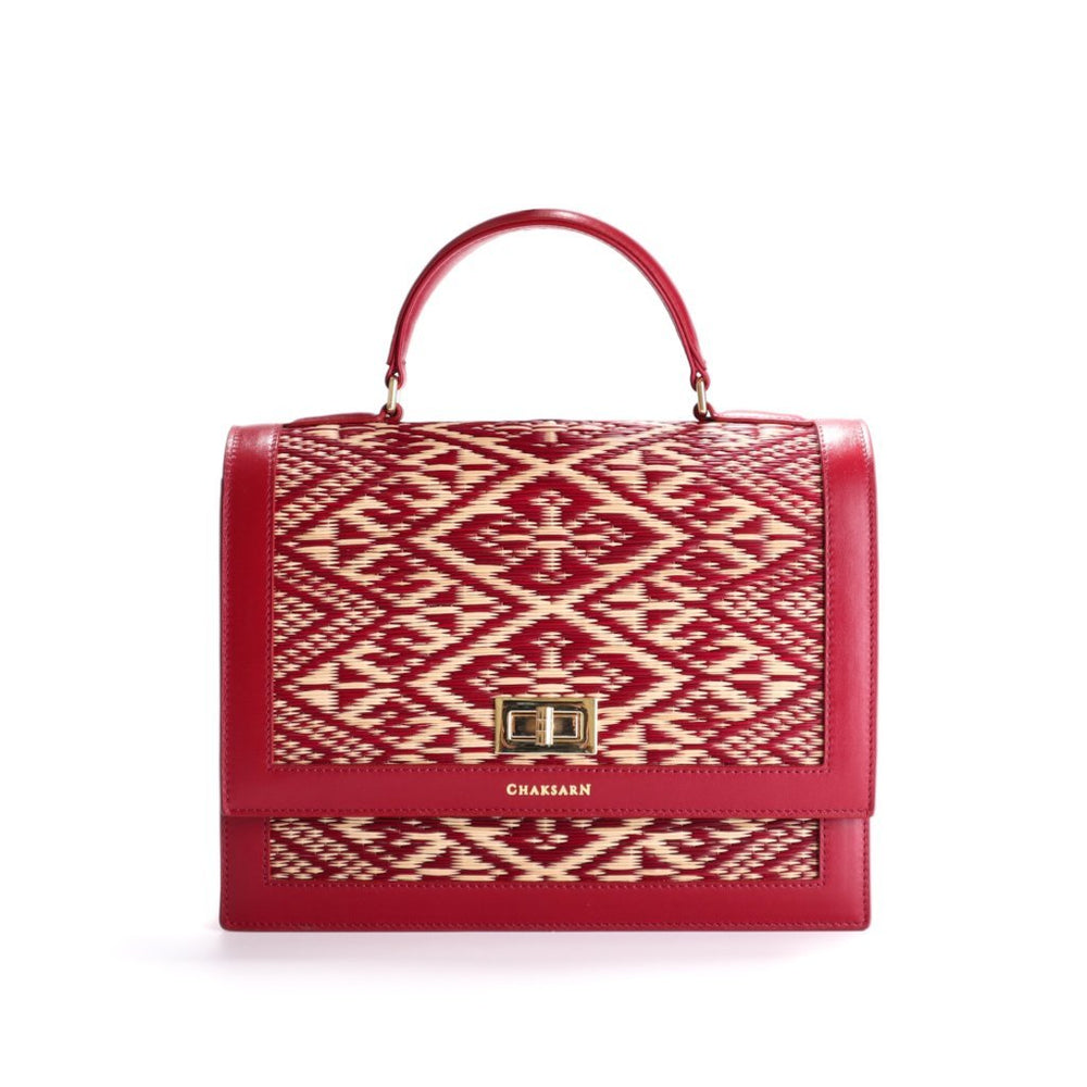 Red Water Sedge and Leather Wicker Handbag with Red Khit