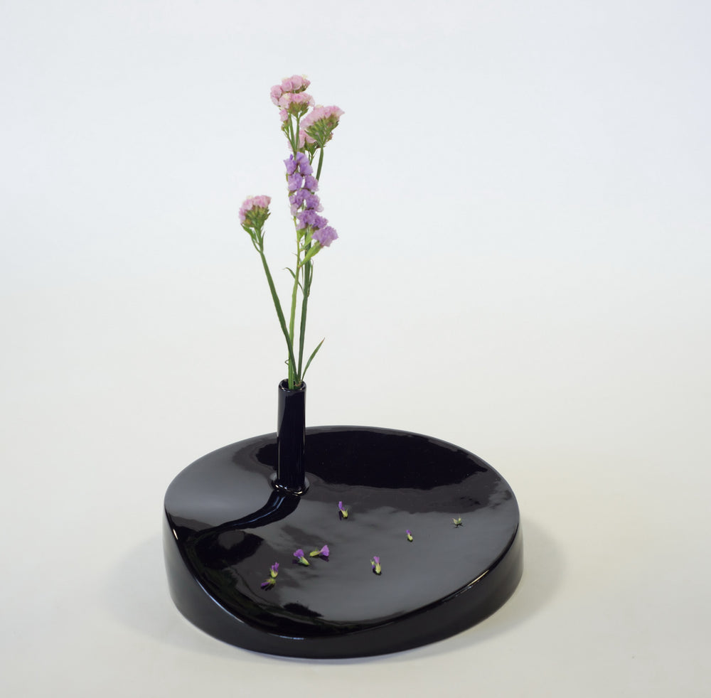 Rest Shiny Black Handmade Stoneware Single Flower Vase