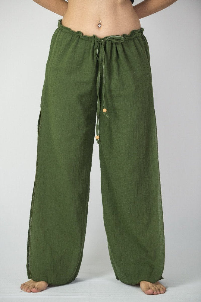 Green Cotton Loose Fit Palazzo Yoga Pants