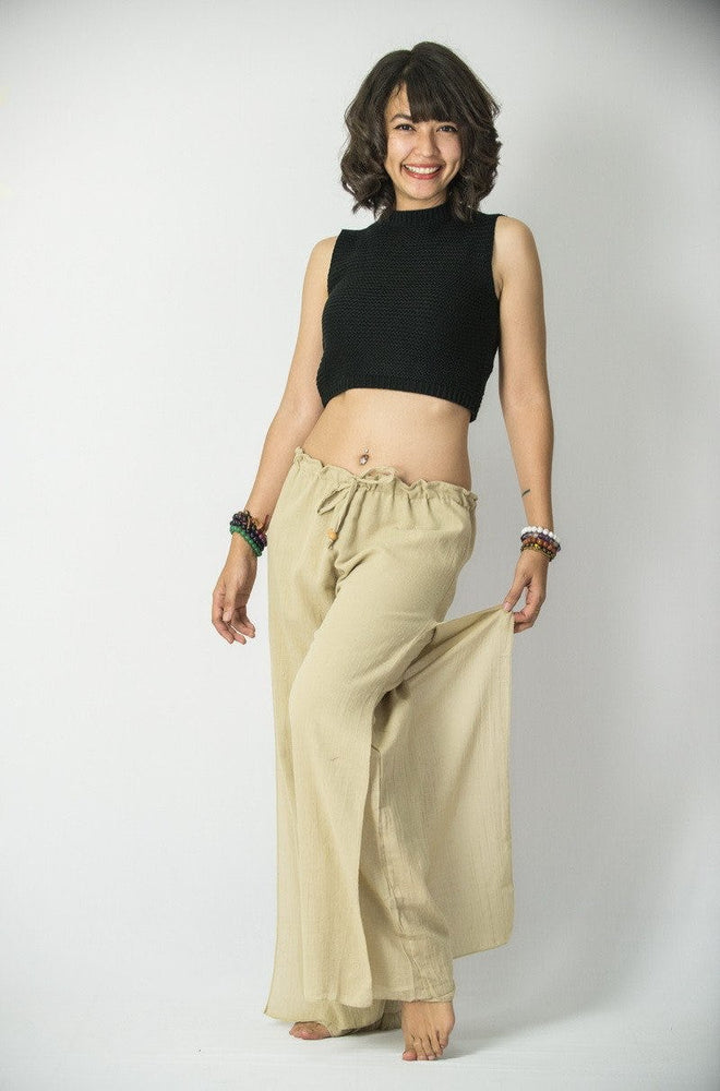 Beige Cotton Loose Fit Palazzo Yoga Pants