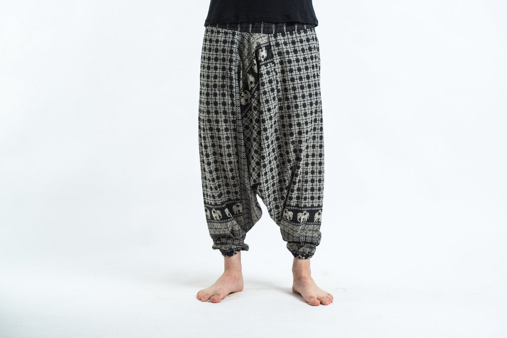 Women's Black Yoga Pants with Hill Tribe Elephants