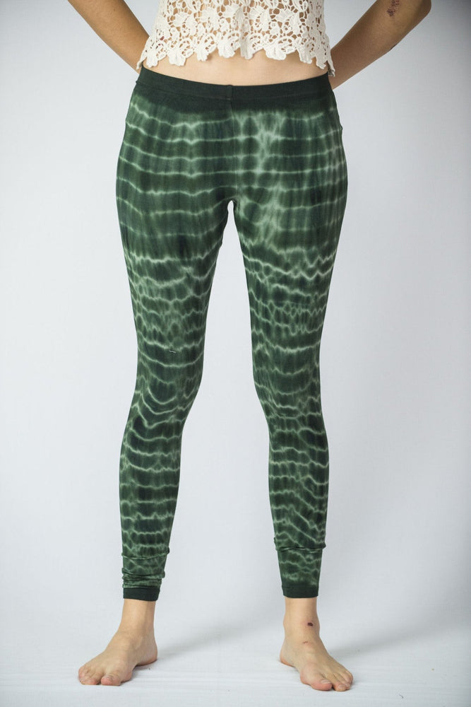 Melting Stripes Green Tie Dye Rayon Yoga Pants Leggings