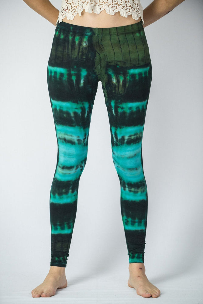 Turquoise Patch Tie Dye Rayon Yoga Pants Leggings