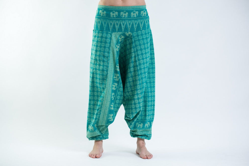 Women's Turquoise Yoga Pants with Hill Tribe Elephants
