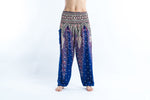 Blue Women's Yoga Pants with Peacock Feather Design