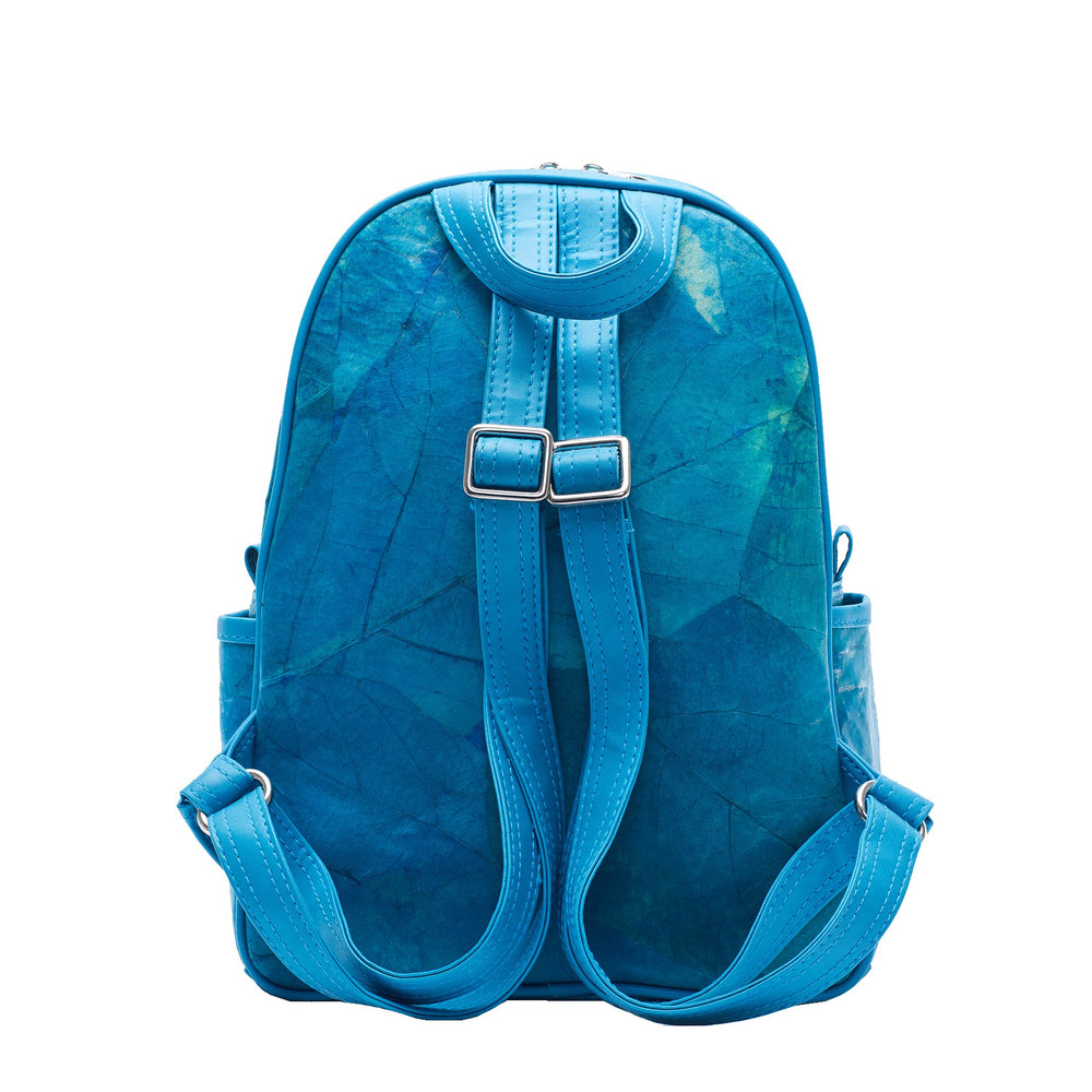 Medium Turquoise Real Tree Leaf Backpack