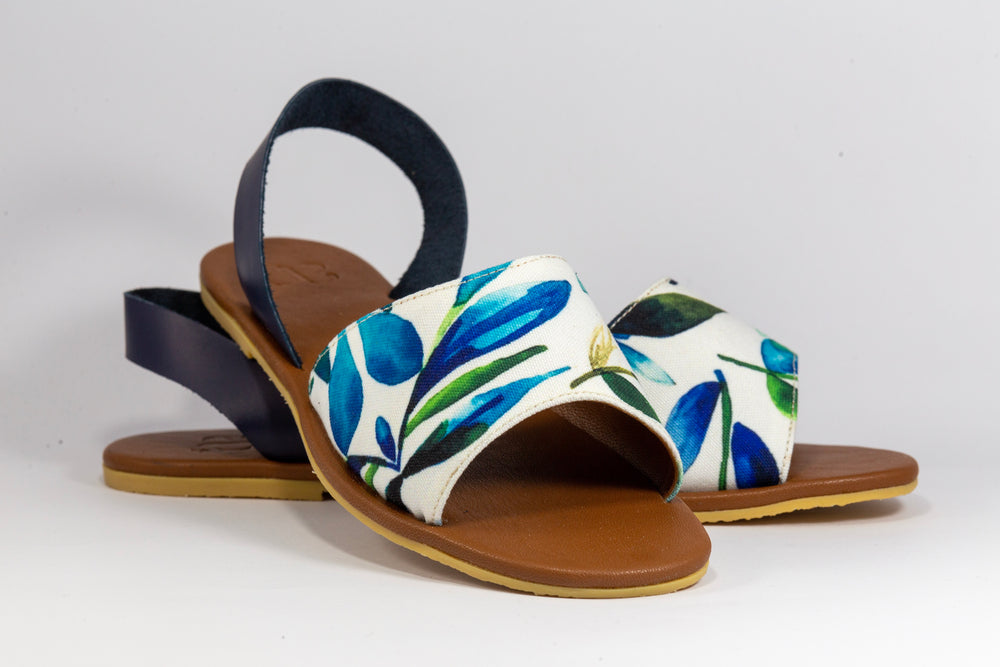 Lawig Handmade Canvas Leather Sling Back Sandals