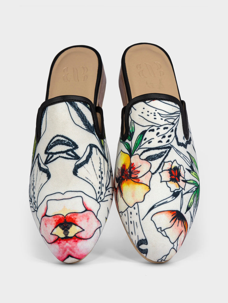 Ligaya Handmade Canvas Leather Slip On Mule Shoes