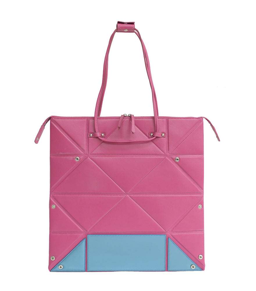 Large Pink Origami Bag with Blue Bottom