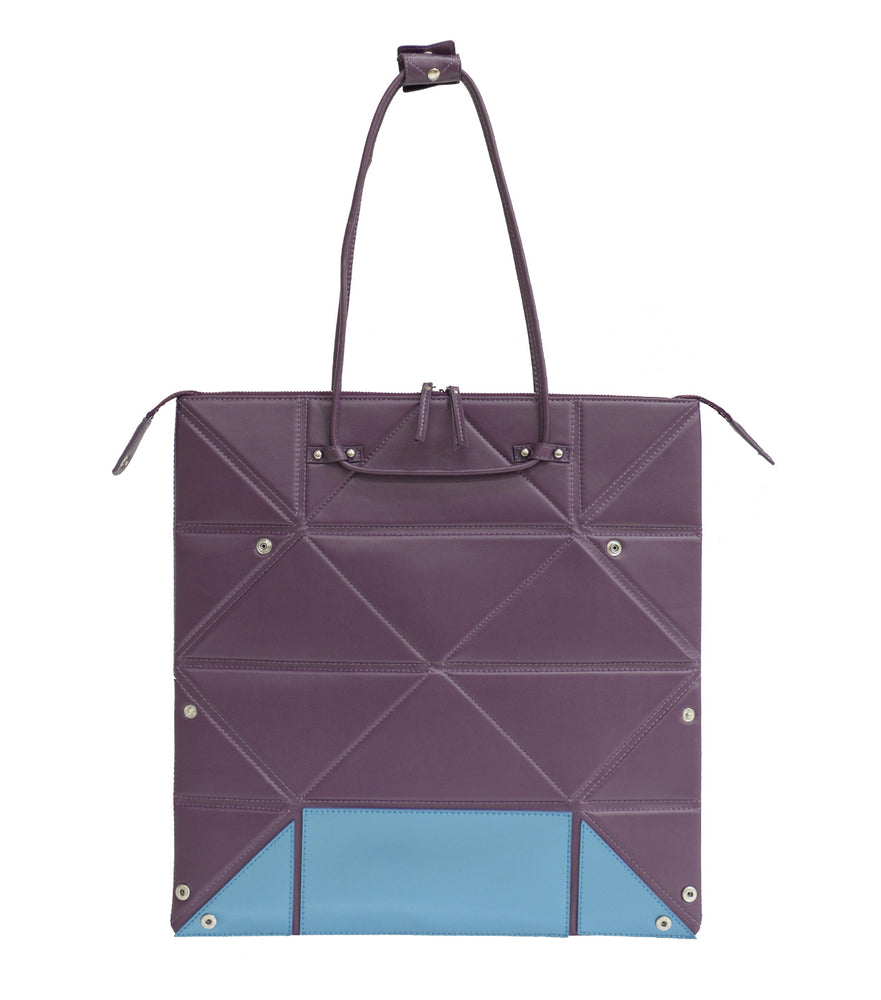 Large Purple Origami Bag with Blue Bottom