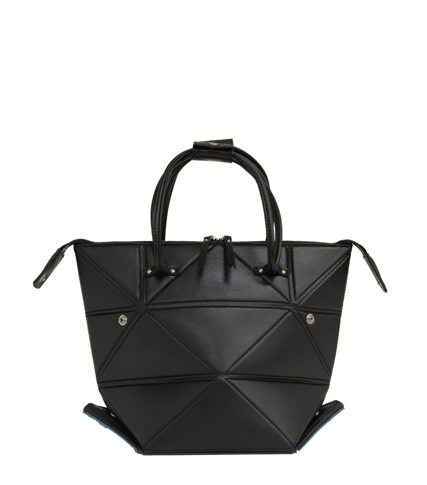 Large Black Origami Bag with Blue Bottom