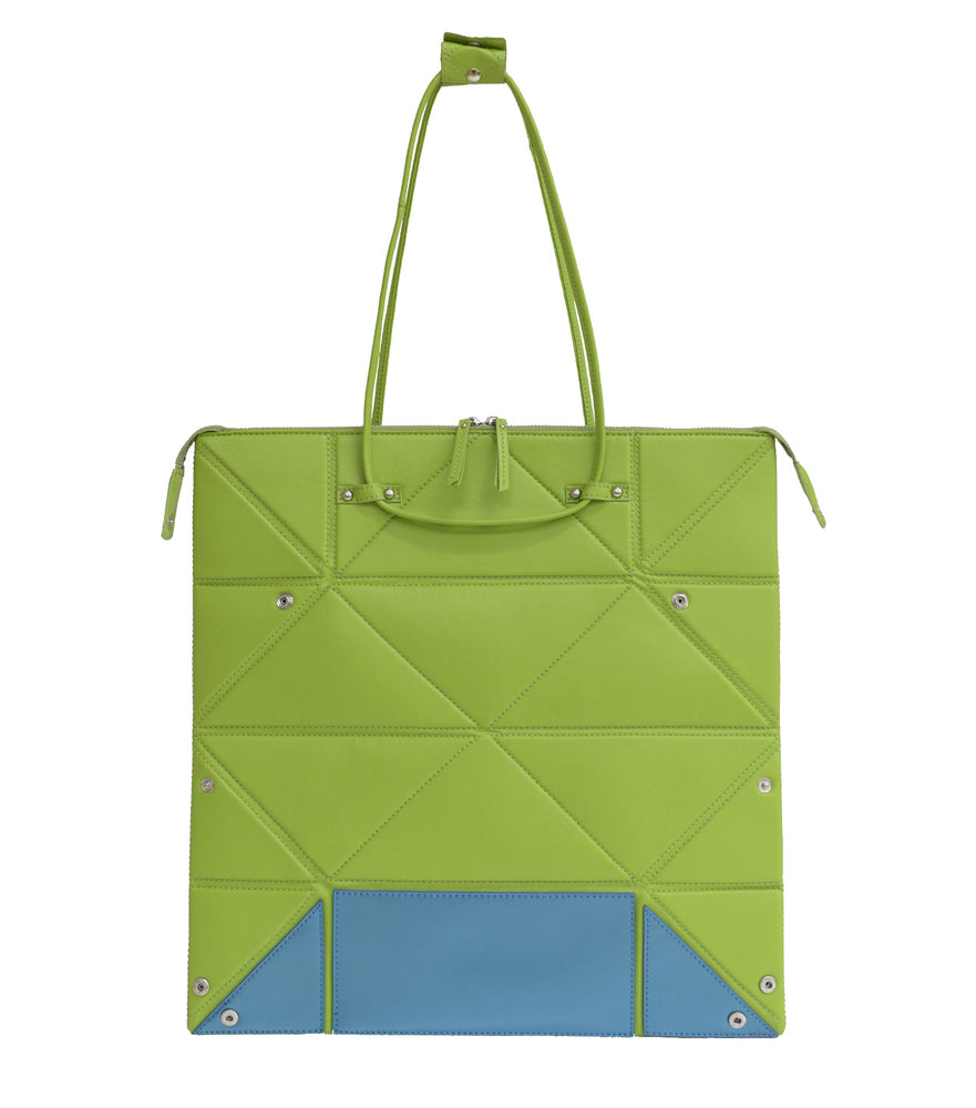 Large Green Origami Bag with Blue Bottom