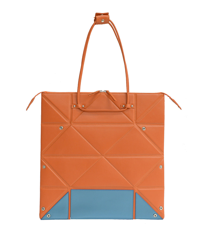 Large Orange Origami Bag with Blue Bottom