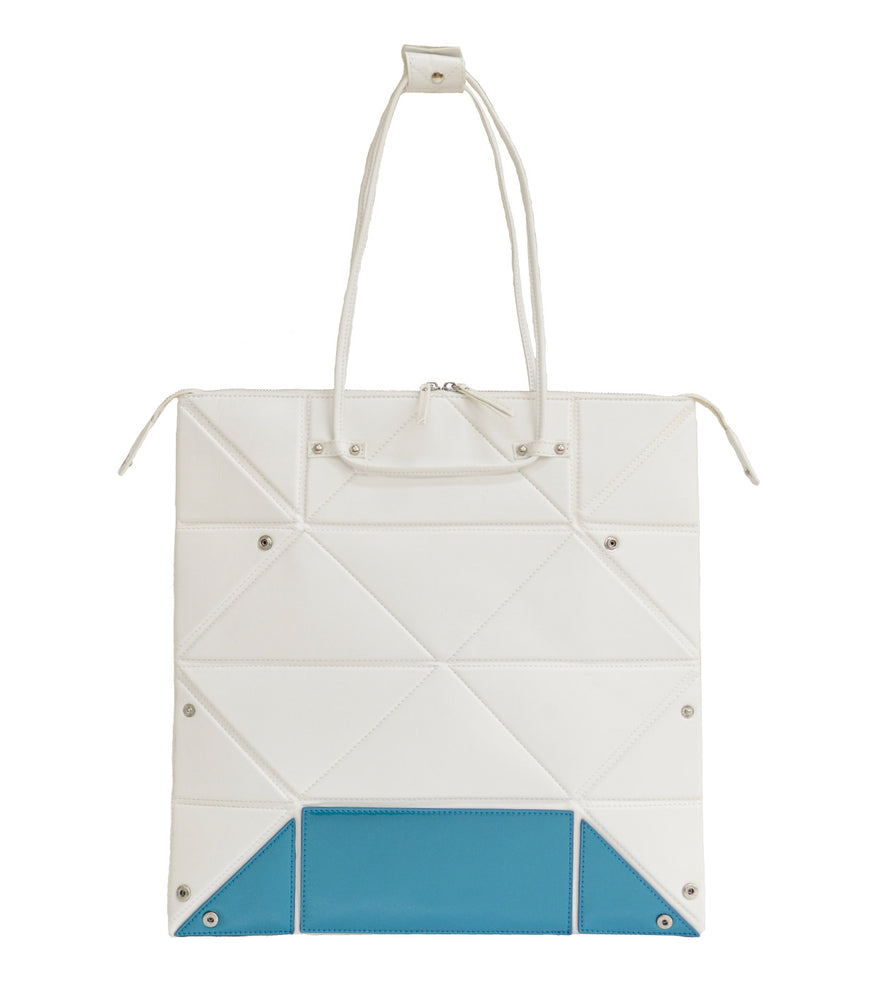 Large White Origami Bag with Blue Bottom