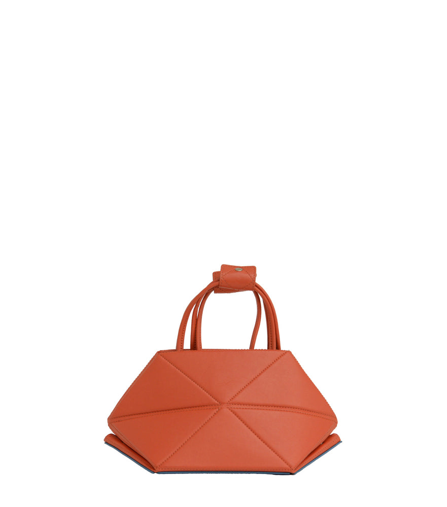 Small Red Origami Bag with Blue Bottom
