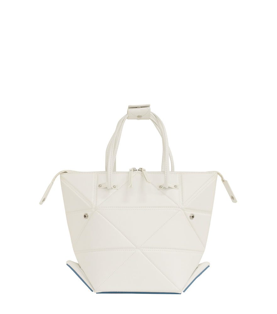 Small White Origami Bag with Blue Bottom