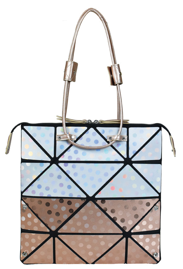 Small Pinkgold Polka Dot Origami Bag