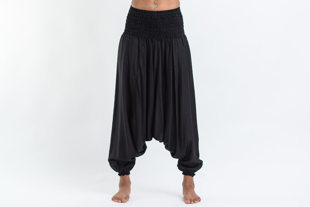 Women's Black 2-in-1 Convertible Jumpsuit Yoga Pants
