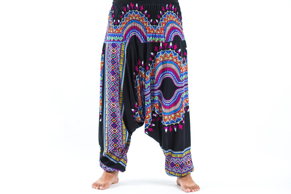 Plus Size Dashiki Drop Crotch Black Yoga Harem Pants Jumpsuit