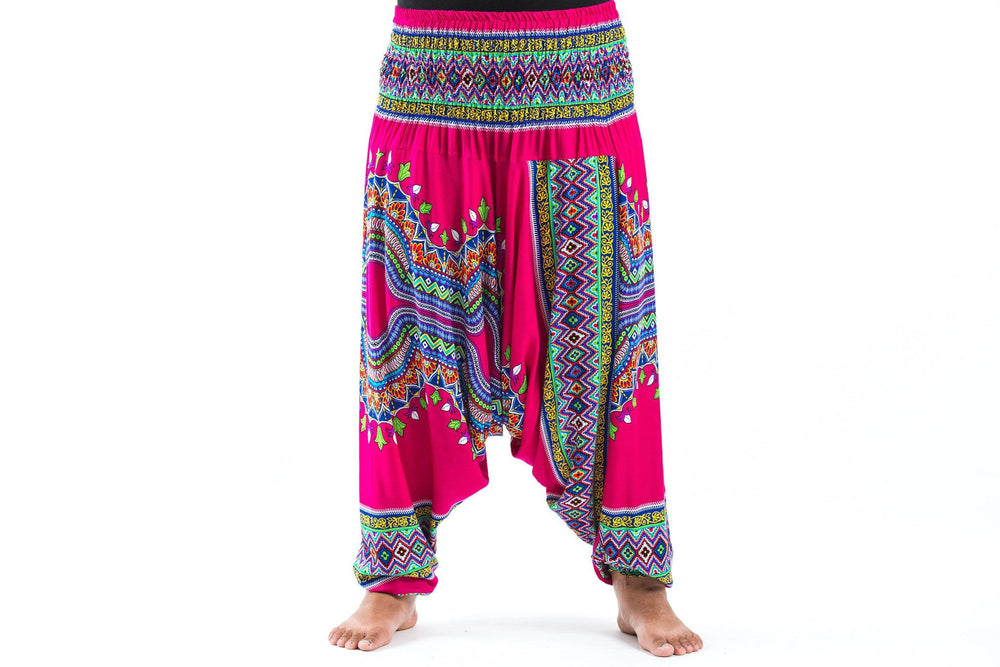 Plus Size Dashiki Drop Crotch Pink Yoga Harem Pants Jumpsuit