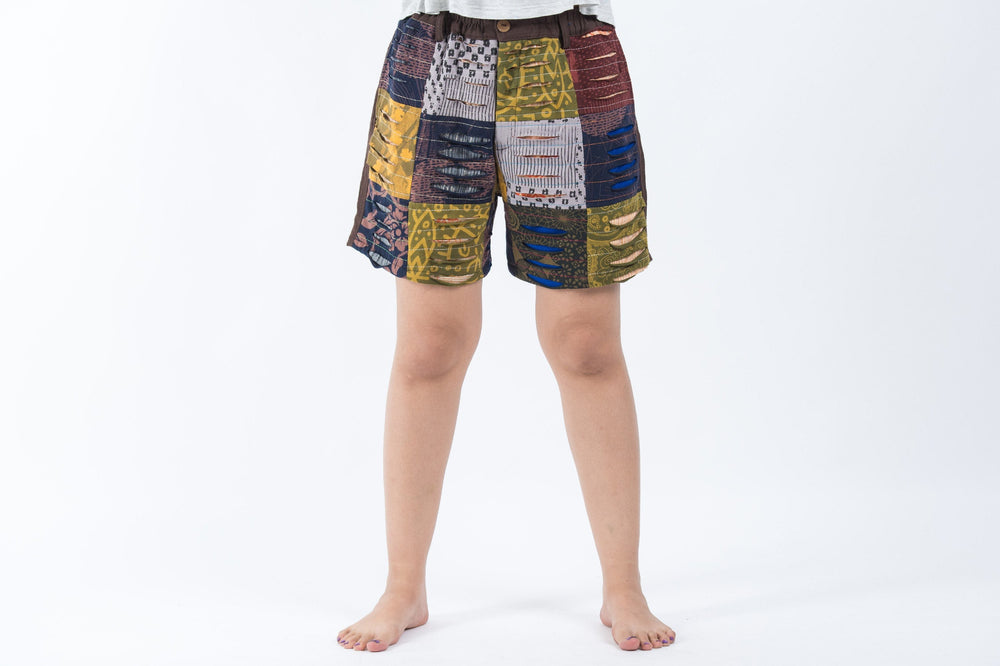 Women's Ripped Patchwork Brown Cotton Shorts