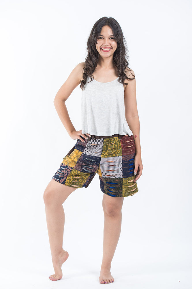 Patchwork Cotton Shorts