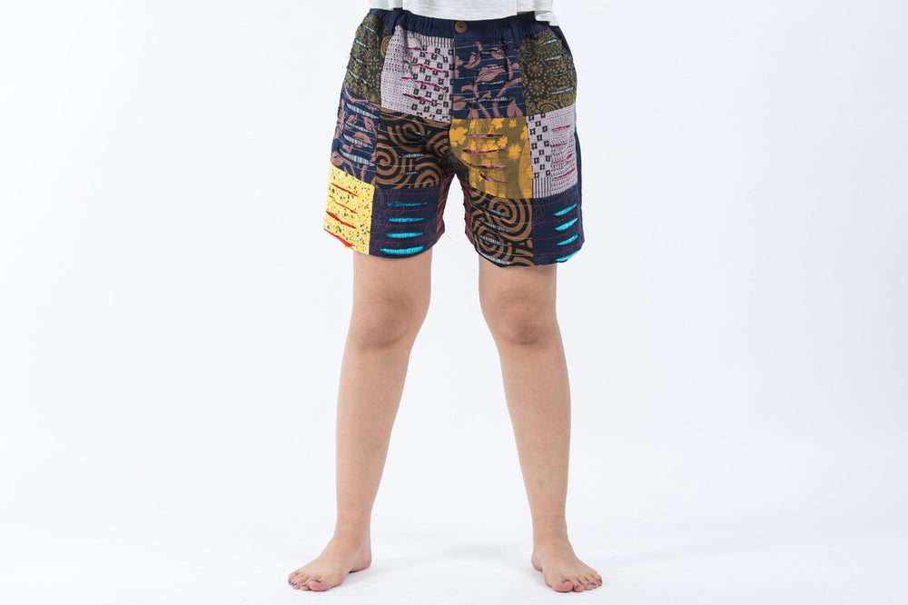 Women's Ripped Patchwork Navy Cotton Shorts