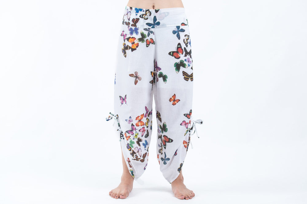 White Cotton Harem Yoga Pants with Pink Butterflies