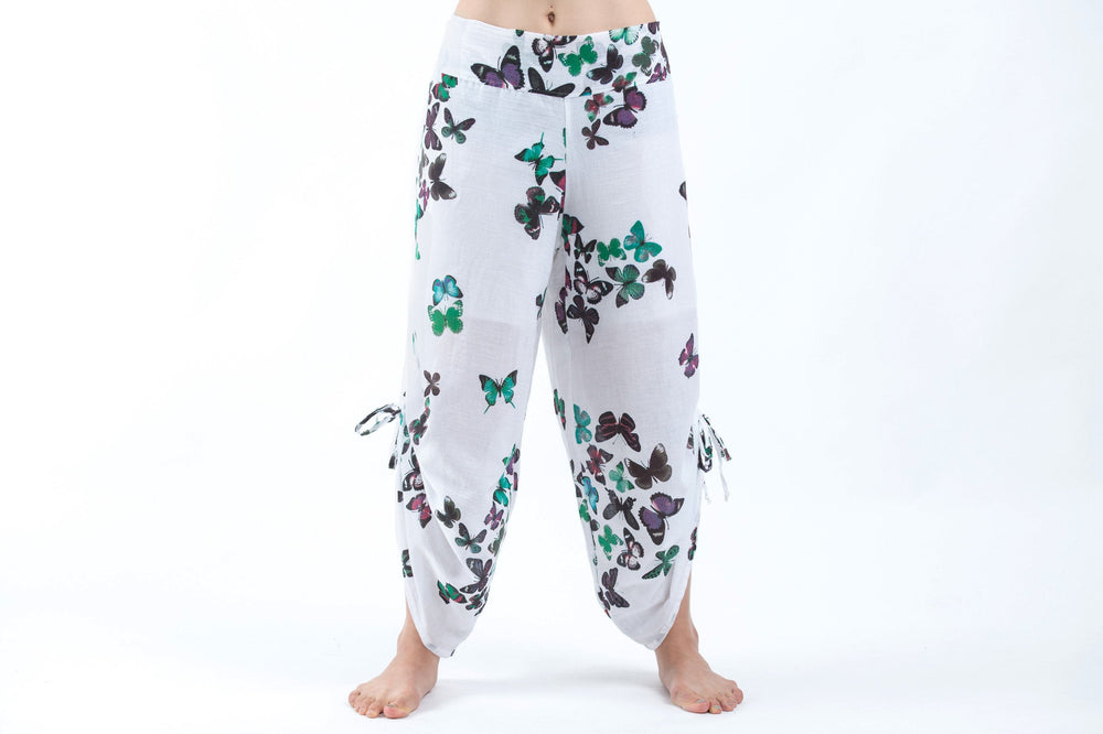 White Cotton Harem Yoga Pants with Turquoise Butterflies