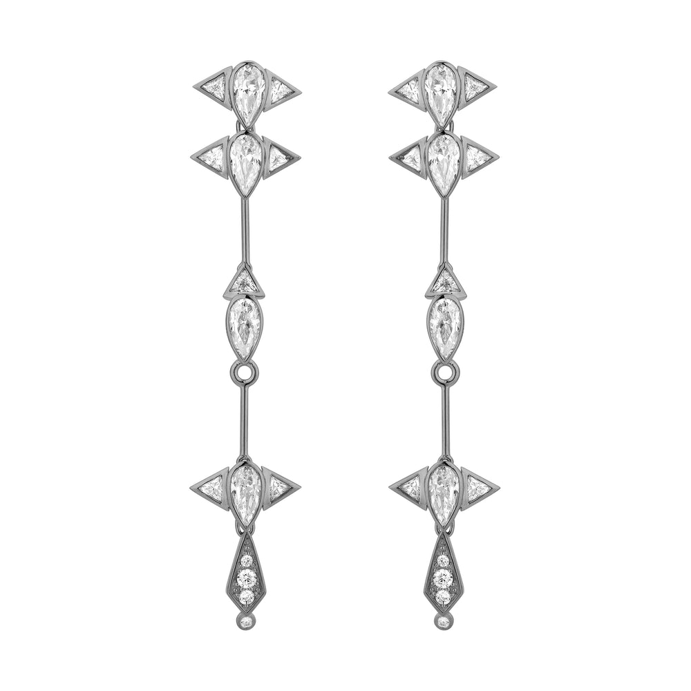 Arun Long Silver Earrings