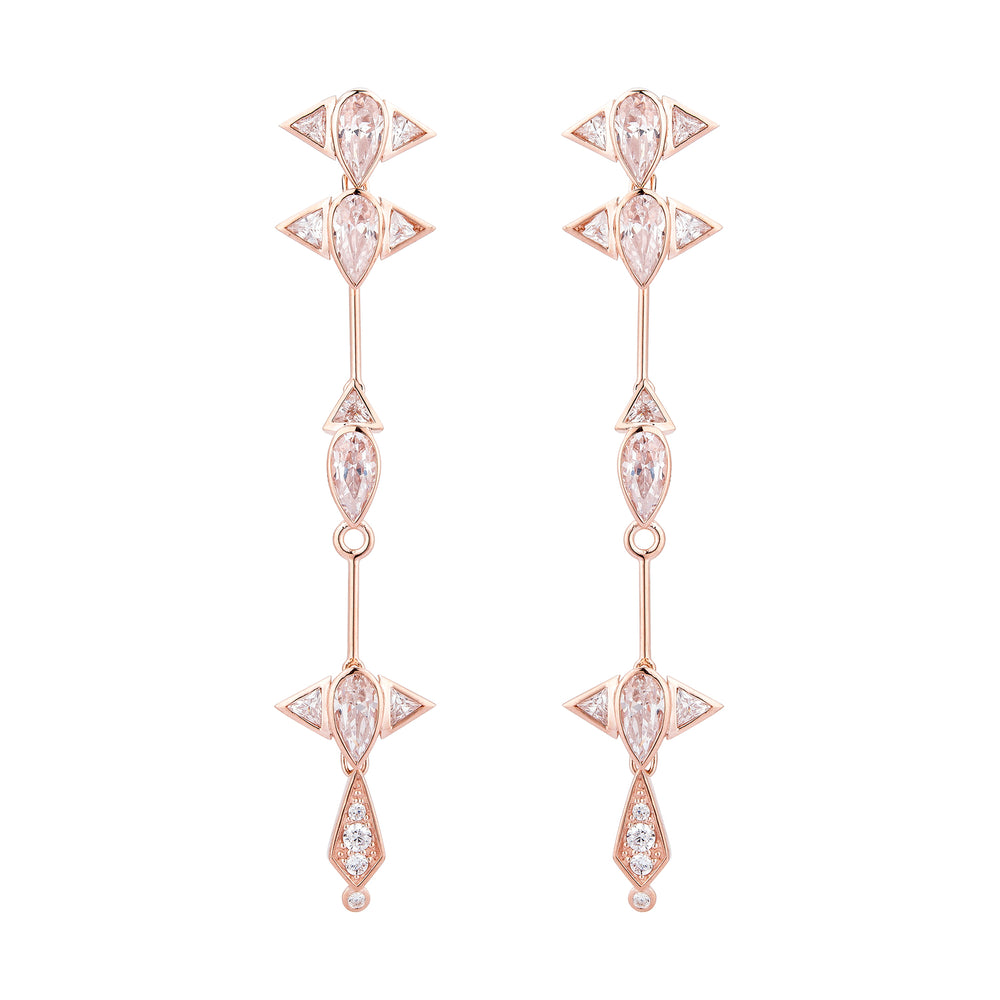 Arun Rose Gold Plated Long Silver Earrings with Zirconia