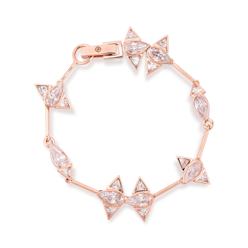 Rose Gold Plated Silver Bracelet with Cubic Zirconia