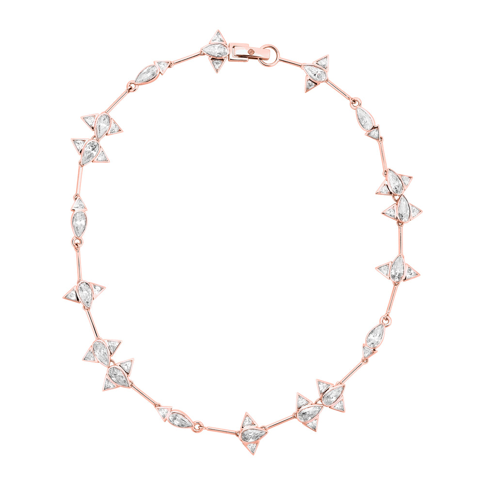 Rose Gold Plated Silver Choker Necklace with Zirconia