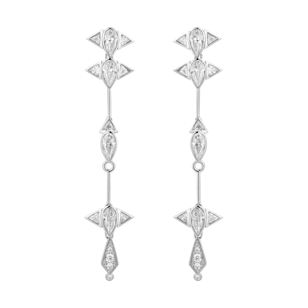 Arun White Gold Plated Long Silver Earrings with Zirconia