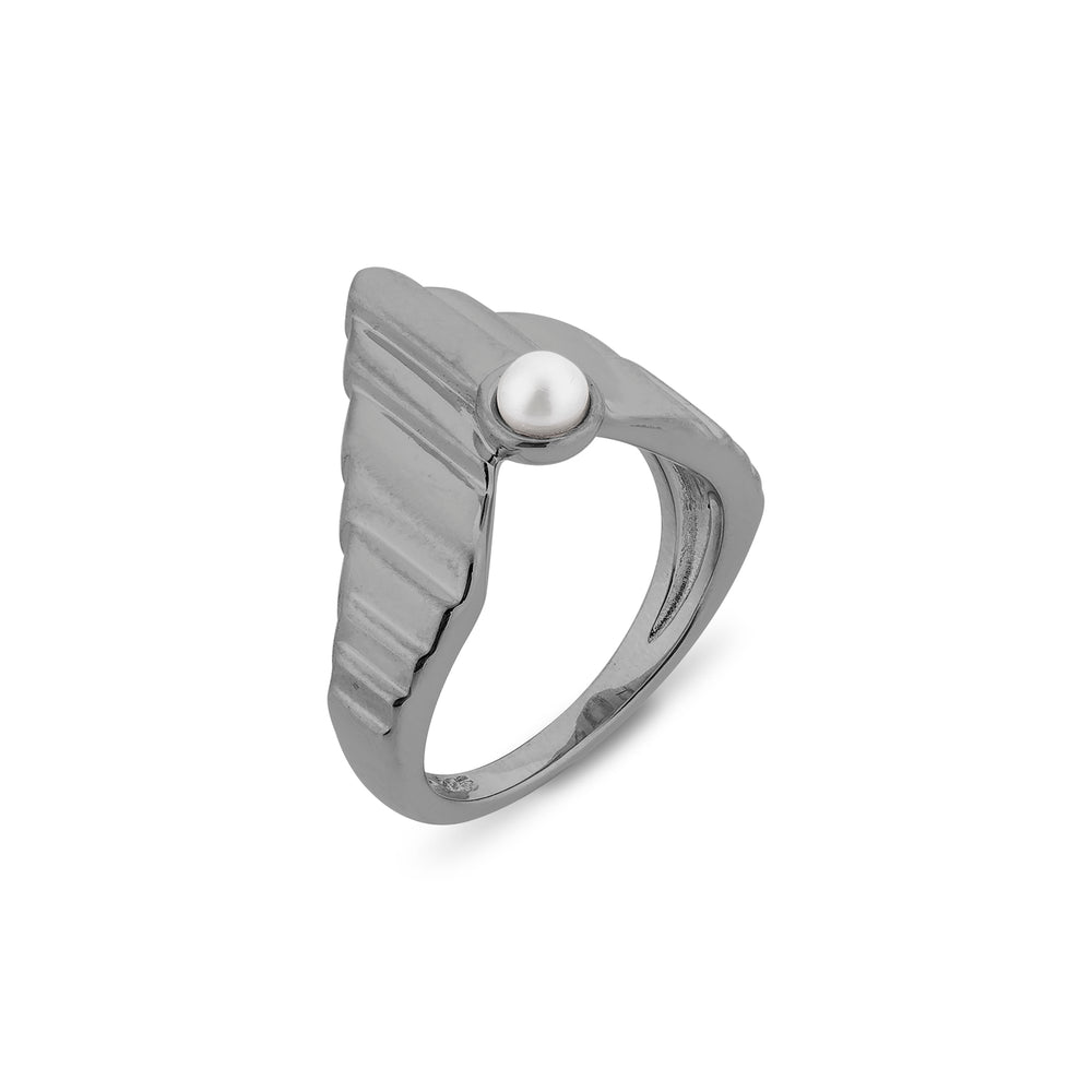 Babylon Uppet Silver Ring Black Rhodium Plated