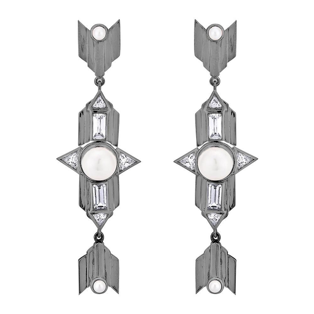 Babylon Long Silver Earrings