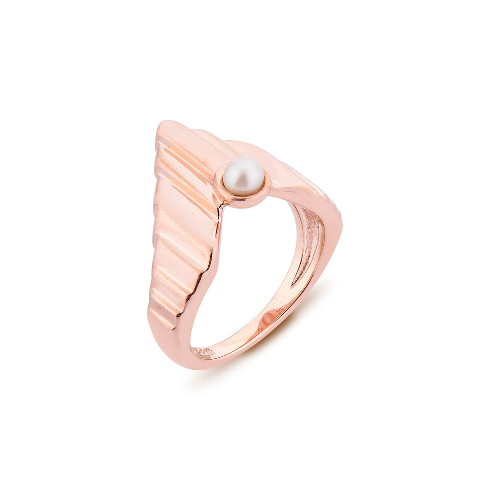 Babylon Uppet Silver Ring Rose Gold Plated