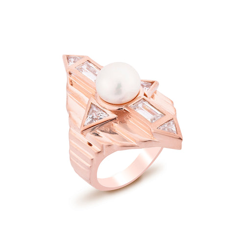 Babylon Silver Ring Rose Gold Plated