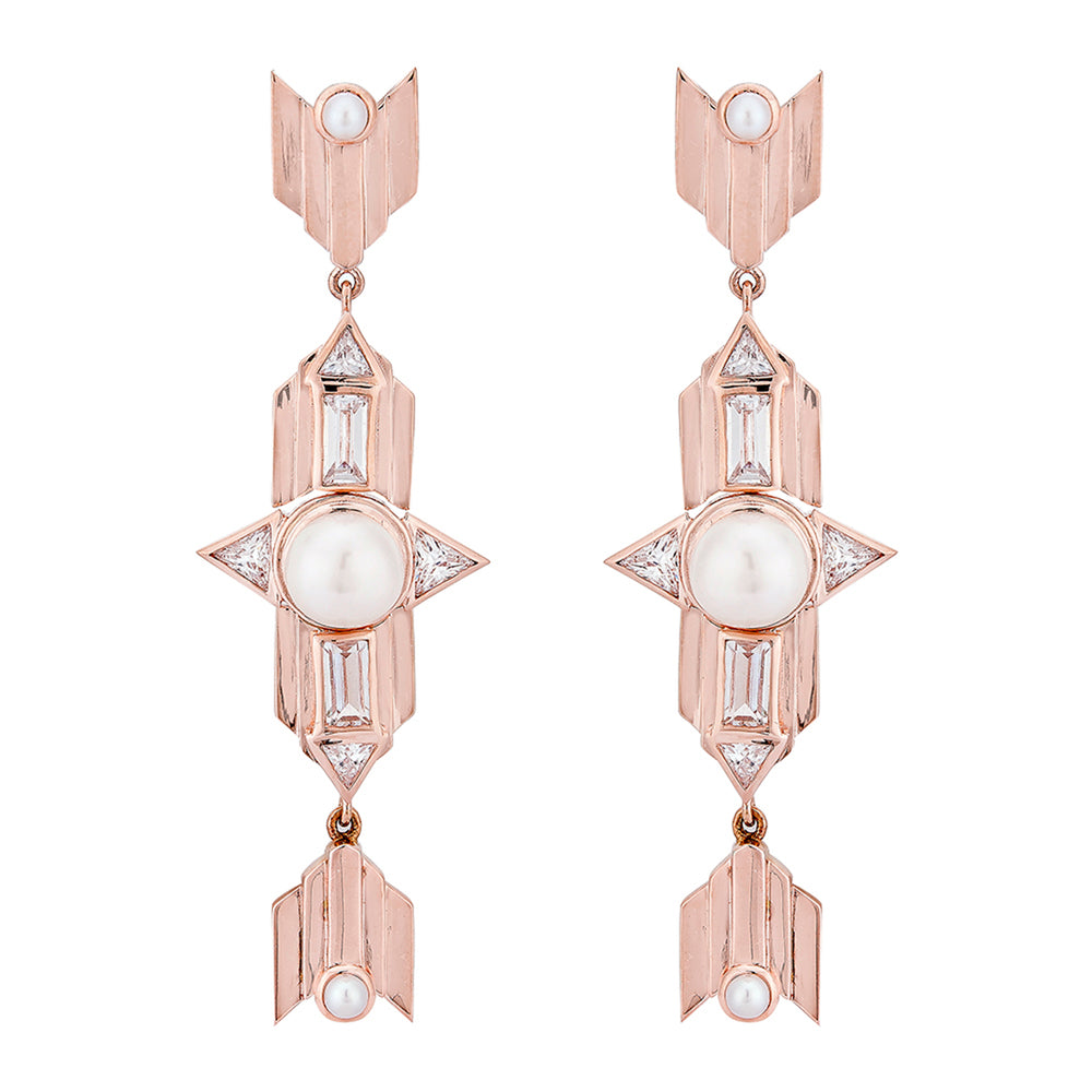Rose Gold Plated Long Silver Earrings with Pearl