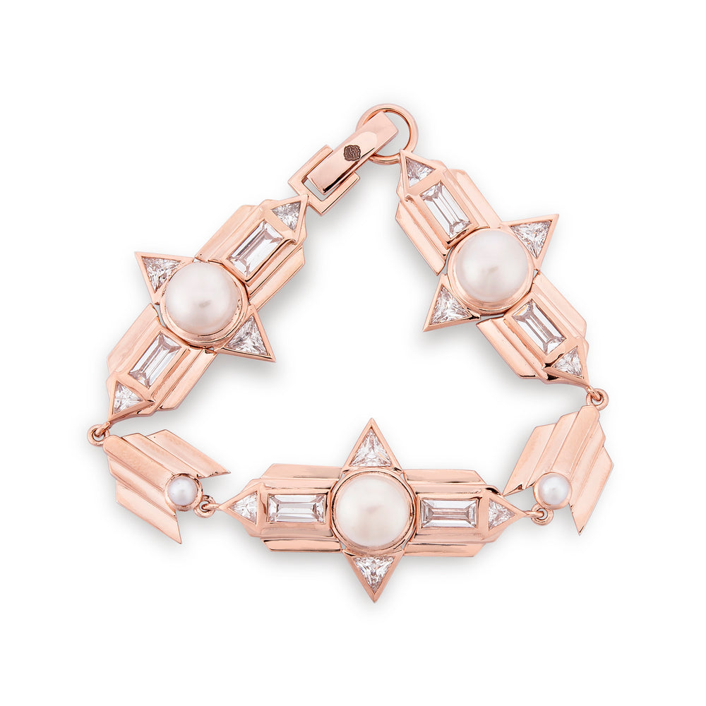 Babylon Rose Gold Plated Silver Bracelet with Pearls