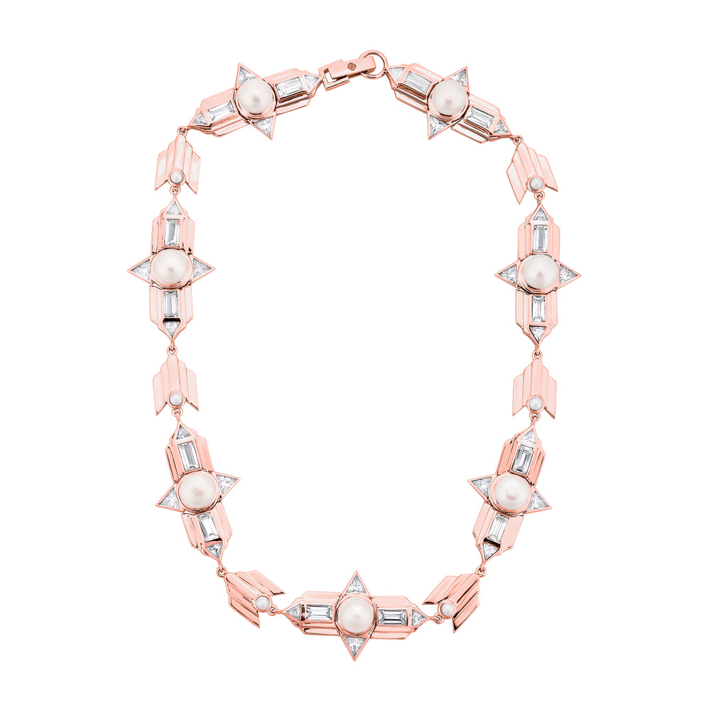 Rose Gold Plated Silver Choker Necklace with Pearls