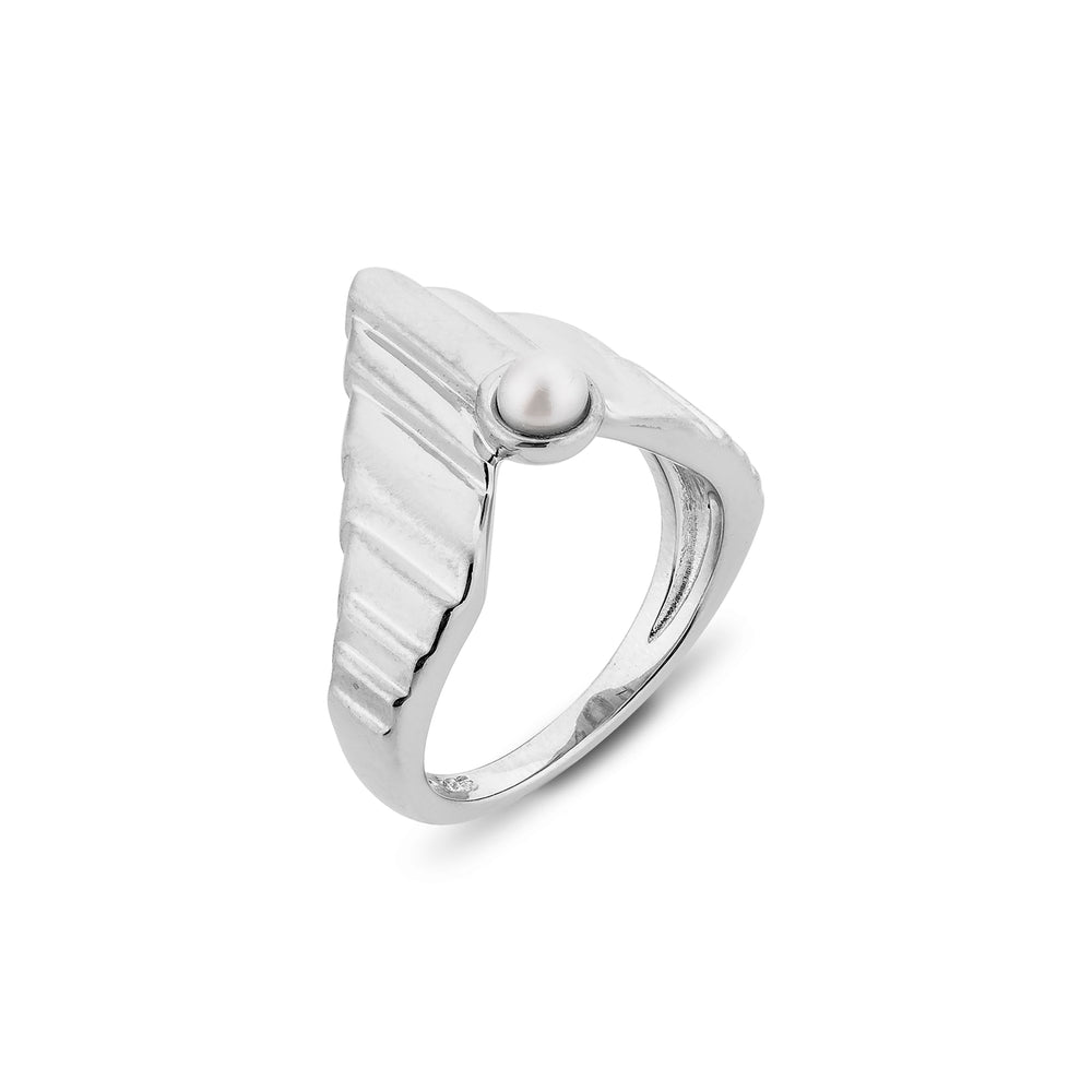 Babylon Uppet Silver Ring White Gold Plated