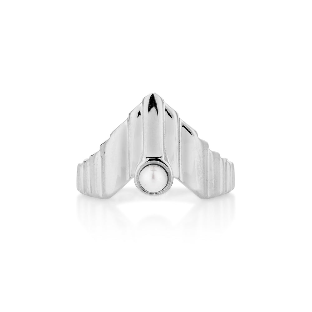 Babylon Uppet White Gold Plated Silver Ring