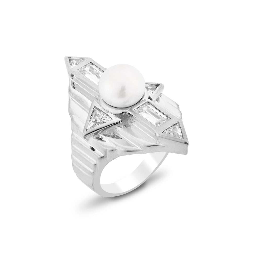 Babylon White Gold Plated Silver Ring