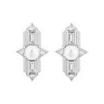 Babylon White Gold Plated Silver Earrings with Pearl